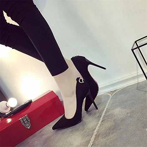 HXVU56546 El Alto Talón Zapatos De Mujer Fina Con La Primavera Y El Otoño, Nuevo Atractivo Solo Zapatos De Punta Mujeres Zapatos De Satén Trabajar Black