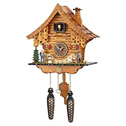 German Cuckoo Clock Quartz-movement Chalet-Style 10.24 inch - Authentic black forest cuckoo clock by Trenkle Uhren