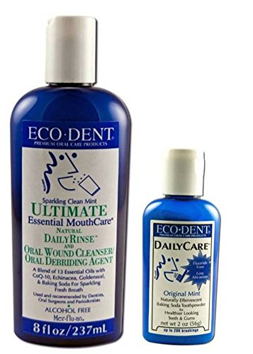 Eco-Dent Premium Oral Care Mint Rinse And Toothpowder Bundle: (1) Eco-Dent Ultimate Essential MouthCare Natural DailyRinse Sparkling Clean Mint, 8 Oz., and (1) Eco-Dent DailyCare Baking Soda Toothpowder Original Mint, 2 Oz. (2 Items Total) (Sparkling Clean Natural)