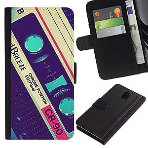 Be Good Phone Accessory // Caso del tirón Billetera de Cuero Titular de la tarjeta Carcasa Funda de Protección para Samsung Galaxy Note 3 III N9000 N9002 N9005 // cassette retro music 90's vintage record