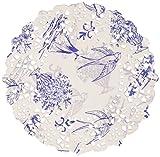 Talking Tables Party Porcelain Disposable Doilies (100 Pack), Mini, Blue & White