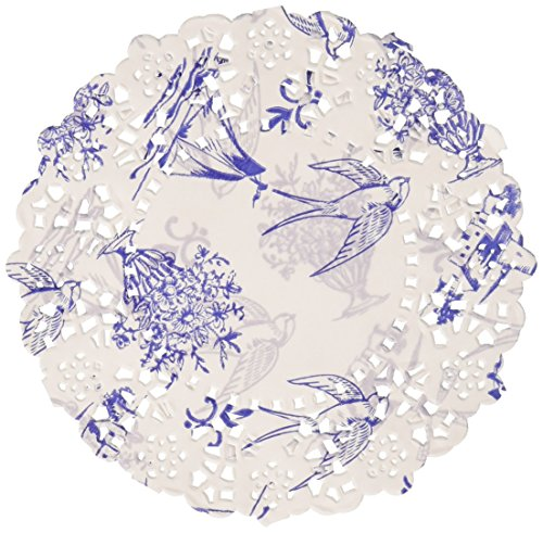 Talking Tables Party Porcelain Disposable Doilies (100 Pack), Mini, Blue & White by Talking Tables