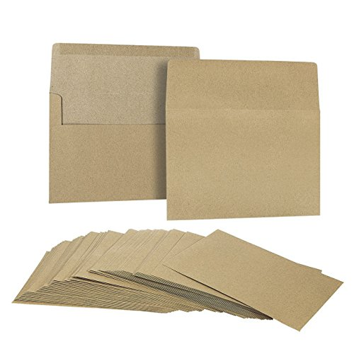 50 Pack Brown Kraft Grocery Bag Paper A7 Envelopes for 5 x 7 Greeting Cards and Invitation Announcements - Value Pack Square Flap Envelopes - 5.25 x 7.25 Inches - 50 Count