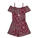 Amy Byer Big Girls' Off The Shoulder Ruffle Front Romper, Plum Medallion Print, XL