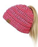C.C BeanieTail Soft Stretch Cable Knit Messy High Bun Ponytail Beanie...