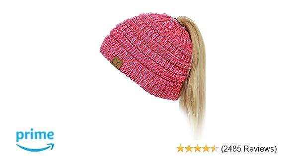 C.C BeanieTail Soft Stretch Cable Knit Messy High Bun Ponytail Beanie Hat e6b26d263f69