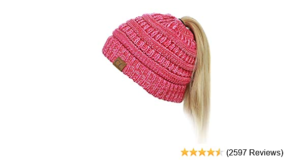 7e301f87a76aa6 C.C BeanieTail Soft Stretch Cable Knit Messy High Bun Ponytail Beanie Hat,  3 Tone Coral at Amazon Women's Clothing store: