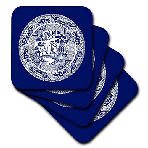 3dRose Willow Pattern in Delft Blue and White - Ceramic Tile Coasters, Set of 4 (CST_220439_3)