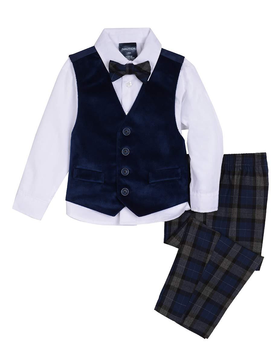 Nautica Boys' Baby 4-Piece Formal Dresswear Vest Set with Bow Tie, Velvet Flag Blue, 12 Months