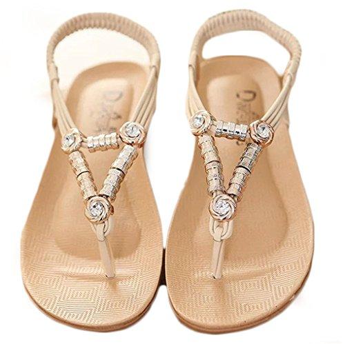 NEWZCERS Sandalias del dedo del pie del color sólido del verano de la manera para las mujeres rosado