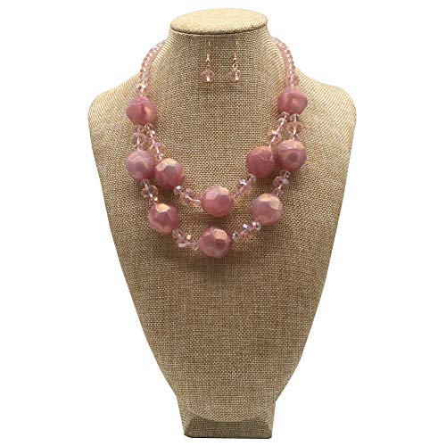 JHWZAIY 2 Layer Colors Acrylic Crystal Women's Polished Resin Statement Necklace Earring Set (Pink)