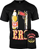 ShirtBANC Mens T Shirt 40oz 9MM Gold Gun Mens T Shirt San Francisco Pistol Golden Empire