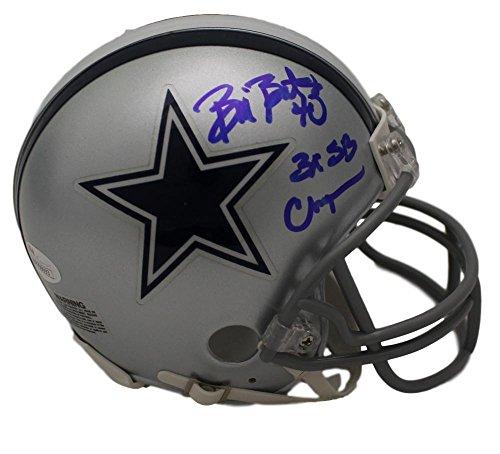 Bill Bates Autographed/Signed Dallas Cowboys Mini Helmet 3x SB Champs JSA