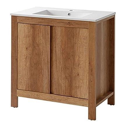 Jadella Sottolavabo \'Fabian w\' 80 cm lavabo Bagno mobili in Rovere ...