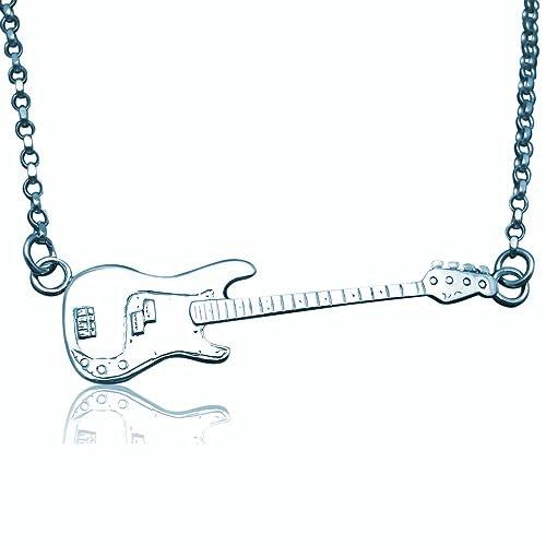 Plata de ley de Defensa de la guitarra eléctrica collar begadi bajo de precisión - grande: jewellery-joia: Amazon.es: Joyería