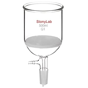 StonyLab Borosilicate Glass Buchner Filtering Funnel with Coarse Frit (G1), 94mm Inner-Diameter, 100mm Depth, with 24/40 Standard Taper Inner Joint and Vacuum Serrated Tubulation (500 mL)