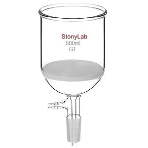 StonyLabBorosilicateGlassBuchnerFilteringFunnelwithCoarseFrit (G1),94mmInner-Diameter,100mmDepth,with24/40StandardTaperInnerJointandVacuumSerratedTubulation(500mL)