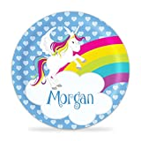 Unicorn Plate - Blue Hearts Pink Flying Horse Melamine Personalized Name Gift