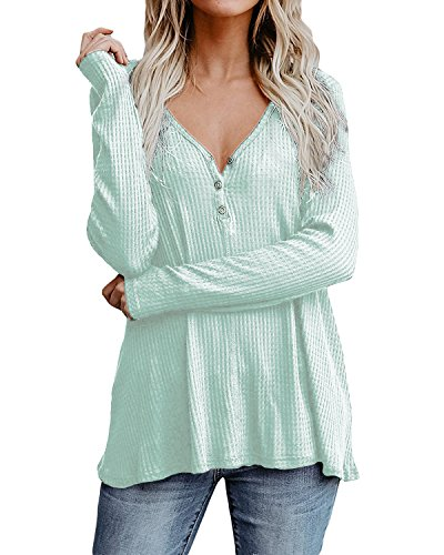 Cnfio Womens Tops Sweater Long Sleeve V Neck Shirts Knit Pullover Loose Blouses Light Green M