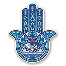 2 x 10cm/100mm Hamsa Hand Vinyl Sticker Decal Laptop Travel Luggage Car iPad Sign Fun #6750