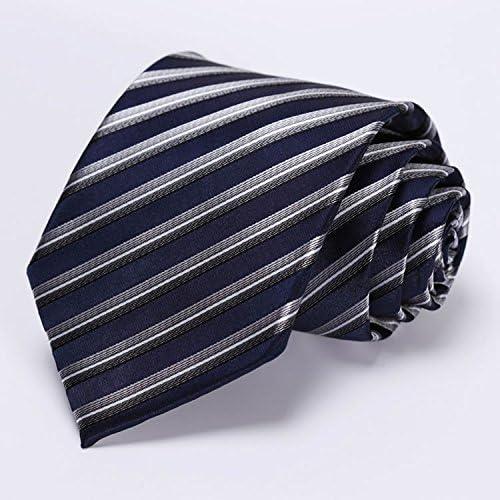 Navy Blue Gray Stripe 3.4 100/%Silk Wedding Jacquard Woven Men Tie Necktie Pocket Square Handkerchief Set Suit