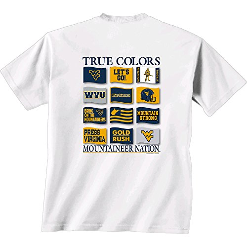 NCAA West Virginia Mountaineers Flying Proud Short Sleeve T-Shirt, Large, White