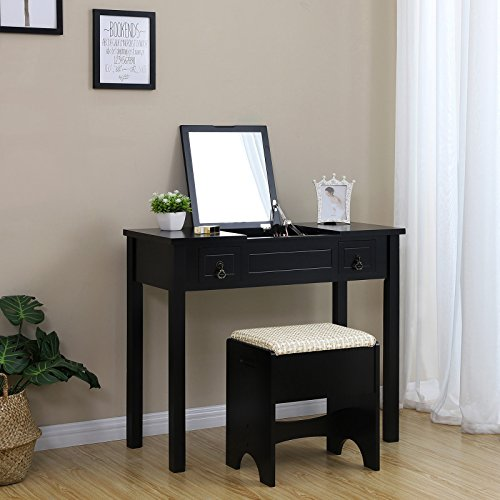 SONGMICS Vanity Set with Flip Top Mirror Makeup Dressing Table Writing Desk with 2 Drawers Cushioned Stool 3 Removable Organizers Easy Assembly Black URDT01B - bedroomdesign.us