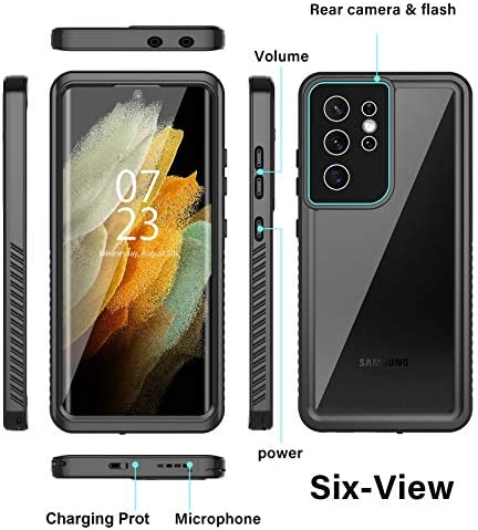 "Nineasy for Samsung Galaxy S21 Ultra Case, Galaxy S21 Ultra Waterproof Case with Built-in Screen Protector, 360°Full Body Protective Heavy Duty Shockproof Clear Cover for Galaxy S21 Ultra 6.8"" 5G 2021"
