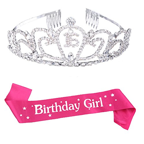 Maticr Sweet Sixteen 16 Crystal Tiara Crown and Sash 16th Birthday Girl Party Accessories Set (Silver) -