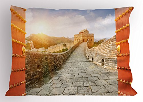 (Lunarable Ancient China Pillow Sham, The Great Wall at Sunset with Open Gates Famous Travel Destination Print, Decorative Standard Queen Size Printed Pillowcase, 30 X 20 Inches, Multicolor)