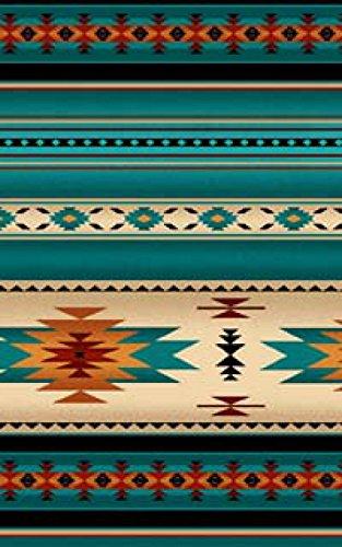 Southwestern Blanket Stripe Fabric, Turquoise, Teal Navaho Designs, Tucson Collection, Elizabeths, 100% Cotton