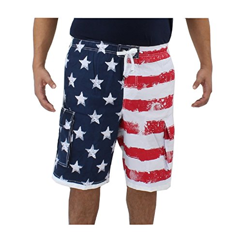 Size Large (32-34 in.) American Flag Board Shorts w/ Liner, 4 Pockets & Elastic Waist