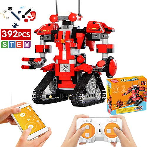 Ritastar APP Remote Control Building Blocks Creative Toolbox Fun Educational Smart Tracked RC Robot Building Set Kit STEM Learning Brick Toy Gift with LED Charge Light for Boys Girls Kids (Red