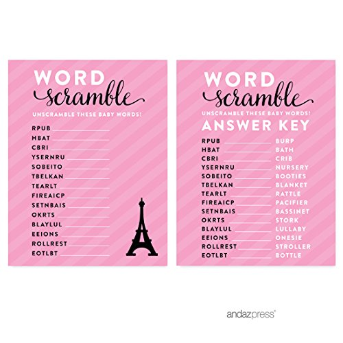 Andaz Press Paris Bonjour Bebe Girl Baby Shower Collection, Games, Activities, Decorations, Word Scramble Game Cards, 20-pack -