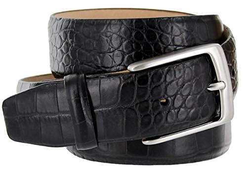 Hagora Men's Italian Calfskin Leather Alligator Texture 1-3/8