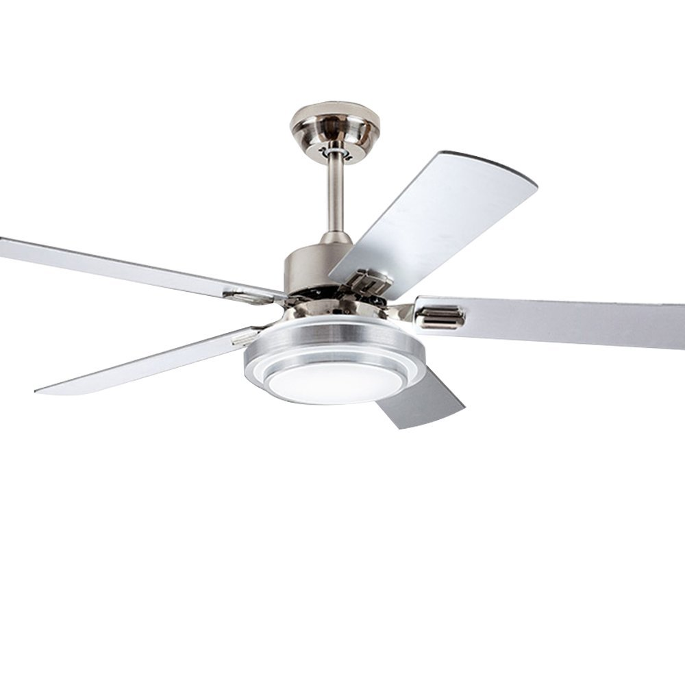 Andersonlight 48-Inch Stainless Steel Ceiling Fan with Dimmable LED Light (White / Warm / Yellow 3-Lights Transform), 5 Reversible Silver/Wood Blades, Reversible Mute Motor, Wireless Remote Control