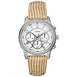 Guess Women's U13602L2 Gold Leather Quartz Watch with White Dial