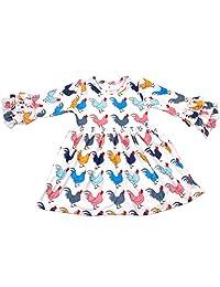 Qliyang Little Girls Chicken Print Cotton Long Sleeve Ruffle Dress Boutique Outfits