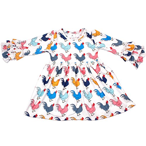 Spring Little Girls Chicken Print Cotton Long Sleeve Ruffle Dress Kids Girls Clothes Boutique Outfits 5T