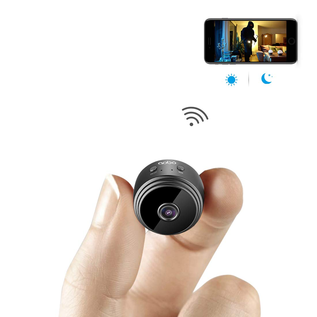 Mini Spy Camera WiFi Hidden Camera AOBO Wireless HD 1080P Indoor Home Small Spy Cam Security Cameras/Nanny Cam Built-in Battery with Motion Detection/Night Vision for iPhone/Android Phone/iPad/PC by aobo
