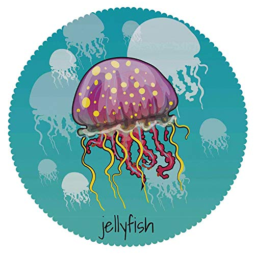 iPrint Round Tablecloth [ Jellyfish,Color Spotted Jellyfish on Aqua Background Silhouettes Decorating Art Nature,Yellow Purple Teal ] Fabric Home Tablecloth -