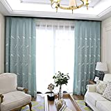 pureaqu Embroidered Lovely Birds Room Darkening Semi-Blackout Blue Curtains Decorative Window Treatment Panel Drapes for Sliding Glass Door for Bedroom Grommet Top Drapes 1 Panel W52 x H84 Inch