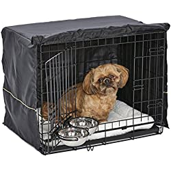 Small Dog Crate Starter Kit | One 2-Door iCrate, Pet Bed, Crate Cover & 2 Pet Bowls | 24-Inch Ideal for Small Dog Breeds
