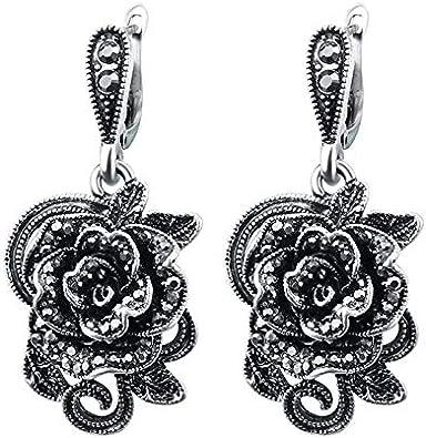 Vintage cristal rosa flor gotas pendientes para las mujeres plata antigua color negro moda joyería pendientes regalo
