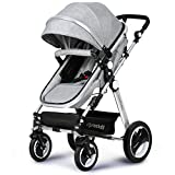 Infant Toddler Baby Stroller Carriage - Cynebaby Compact Pram Strollers add Tray (Gray)