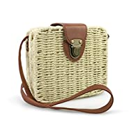 Hoxis Retro Straw Portable Small Box Woven Womens Cross Body Bag Shoulder Messenger Satchel