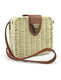 Retro Straw Portable Small Box Woven Womens Cross Body Bag Shoulder Messenger Satchel