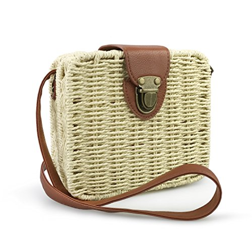 Straw Bag Handbag (Hoxis Retro Straw Portable Small Case Womens Cross Body Bag Shoulder Messenger Satchel (Khaki))