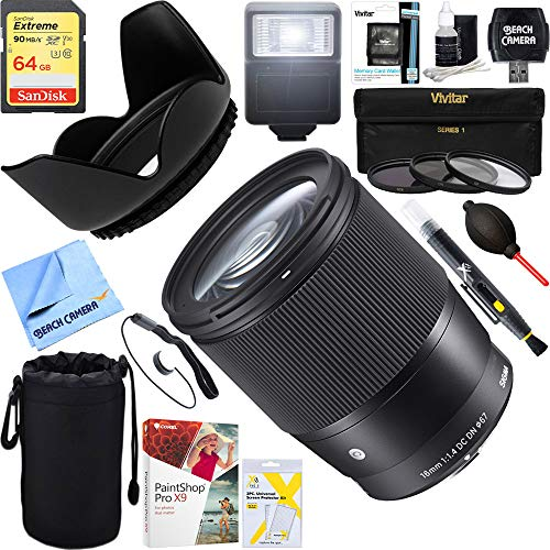 Sigma (402965) 16mm F1.4 DC DN Sony E Mount Lens + 64GB Ultimate Filter & Flash Photography Bundle