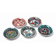 "Japanese Ceramic 5 Sushi Dipping Sauce Dish Set ""JIDAIGA"" Kutani Yaki"